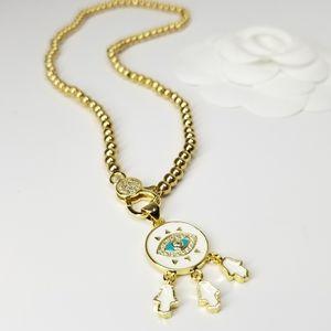 Hamsa Evil Eye Enamel Bracelet Choker Necklace NEW